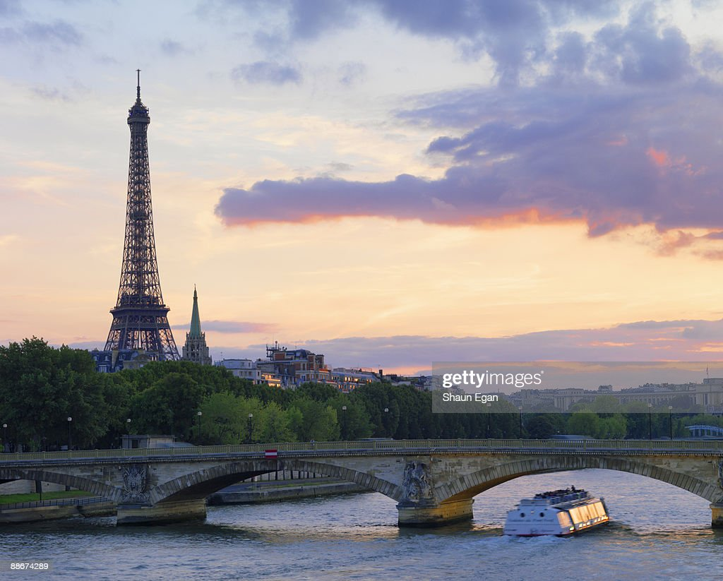 Tour boat on River Seine,Eiffel Tower : Stock Photo