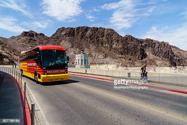 Tour Bus and People Crossing Hoover Dam in Nevada