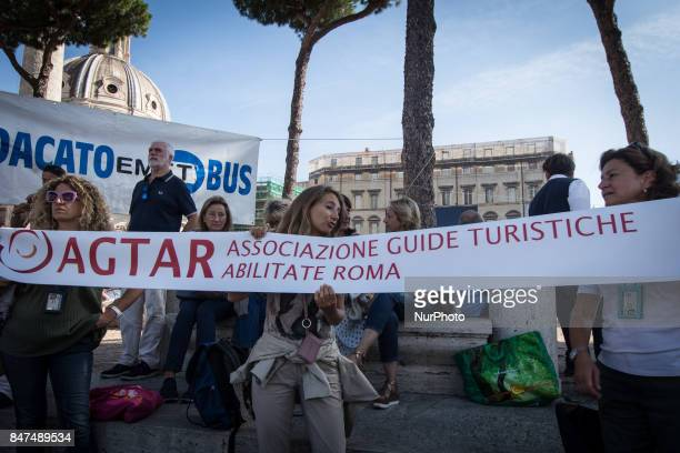 Tour bus drivers protest in Rome against the changes of bus plan in Rome Italy on September 15 2017