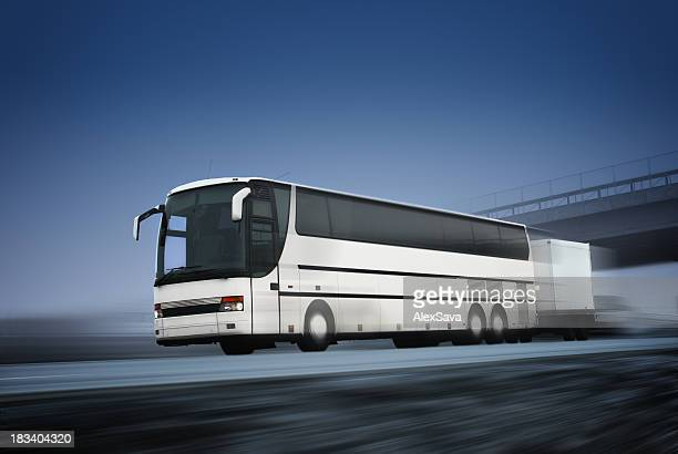 tour bus in motion