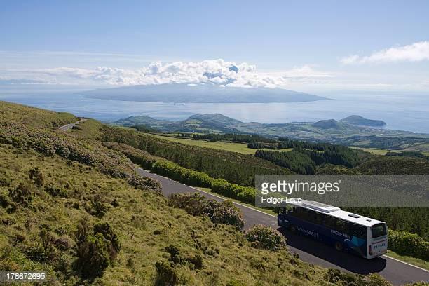 Tour bus near Reserva Natural da Caldeira do Faial