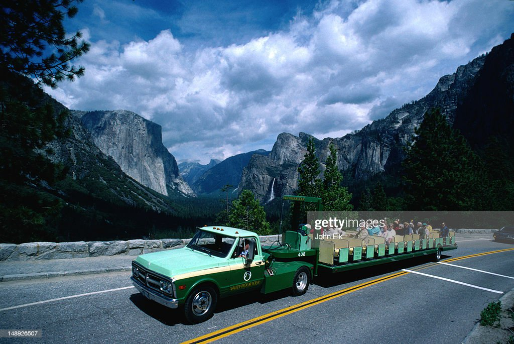 Tour Bus On The Yosemite Valley Floor Yosemite National Park California  Stock Photo | Getty Images