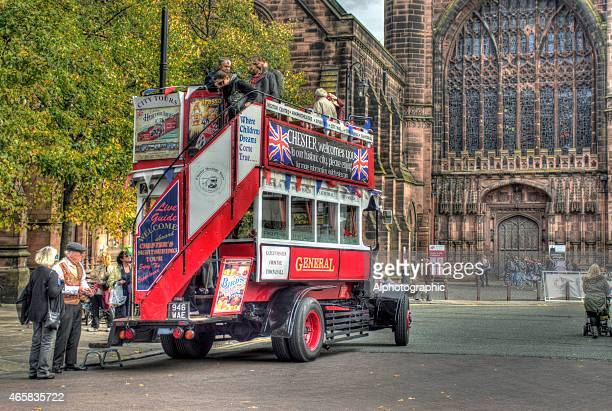 Tour bus ouside Chester Cathedral