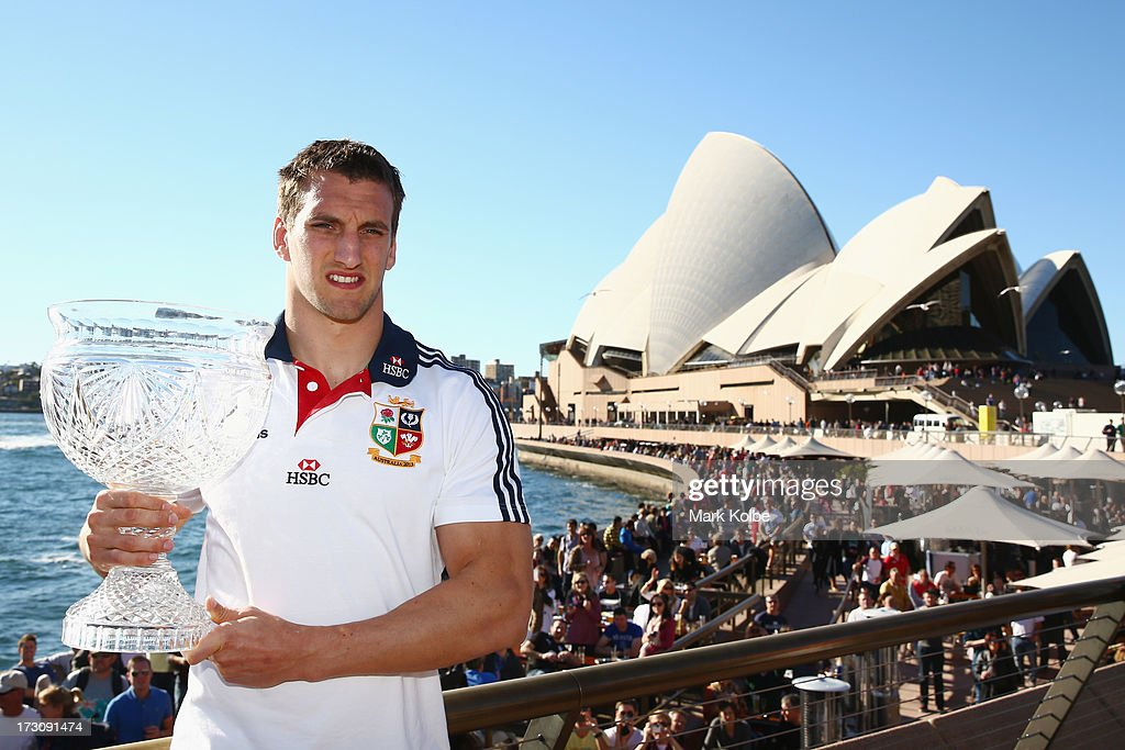 Tour captain <a gi-track='captionPersonalityLinkClicked' href=/galleries/search?phrase=Sam+Warburton+-+Rugby+Player&family=editorial&specificpeople=4234449 ng-click='$event.stopPropagation()'>Sam Warburton</a> poses with the Tom Richards Cup at the Sydney Opera House during a British & Irish Lions media session at the Sydney Opera House on July 7, 2013 in Sydney, Australia.