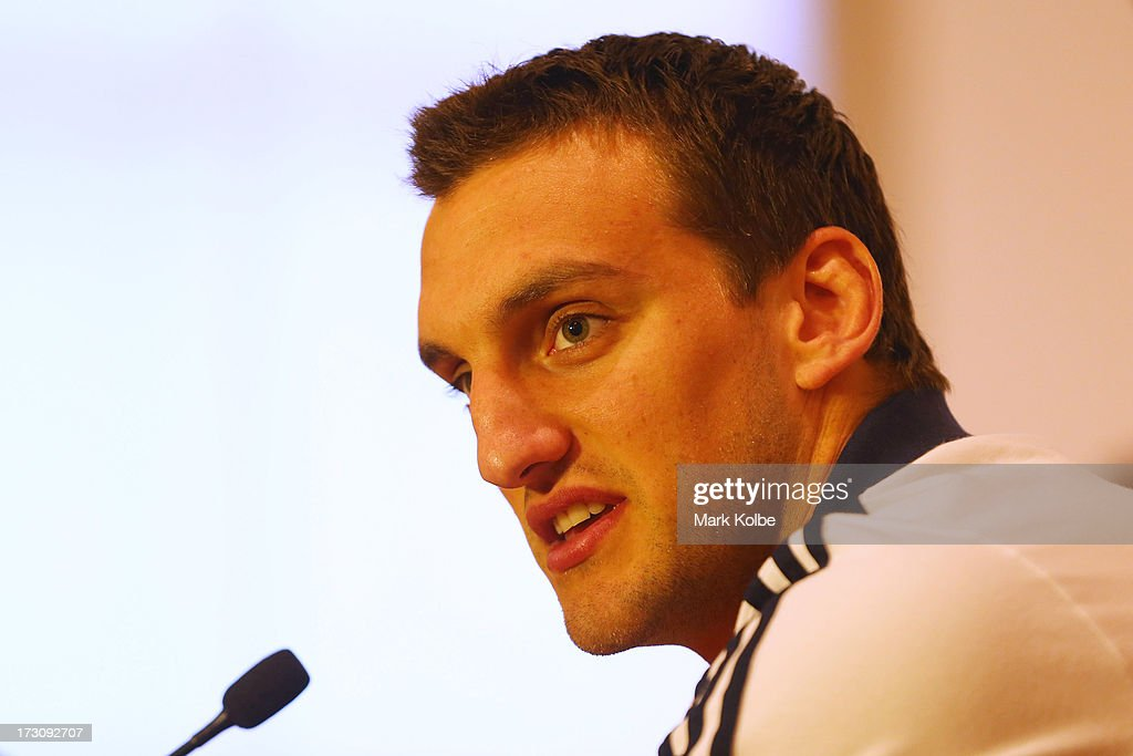 Tour captain <a gi-track='captionPersonalityLinkClicked' href=/galleries/search?phrase=Sam+Warburton+-+Rugby+Player&family=editorial&specificpeople=4234449 ng-click='$event.stopPropagation()'>Sam Warburton</a> speaks to the media at a press conference during a British & Irish Lions media session at the Royal Automobile Club on July 7, 2013 in Sydney, Australia.