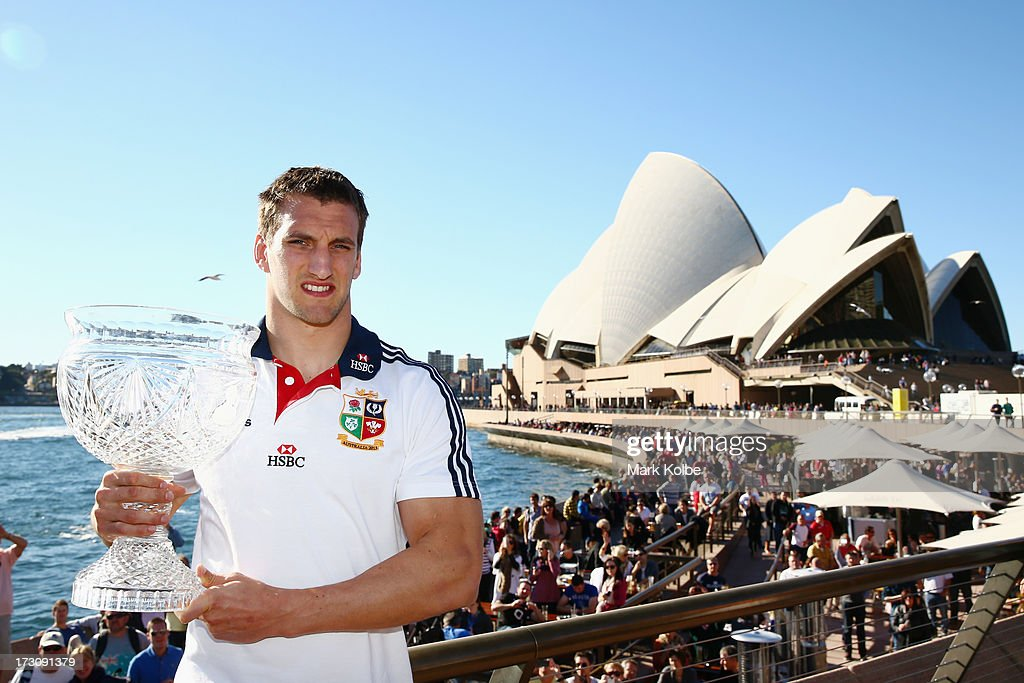 Tour captan <a gi-track='captionPersonalityLinkClicked' href=/galleries/search?phrase=Sam+Warburton+-+Rugby+Player&family=editorial&specificpeople=4234449 ng-click='$event.stopPropagation()'>Sam Warburton</a> poses with the Tom Richards Cup during a British & Irish Lions media session at the Sydney Opera House on July 7, 2013 in Sydney, Australia.