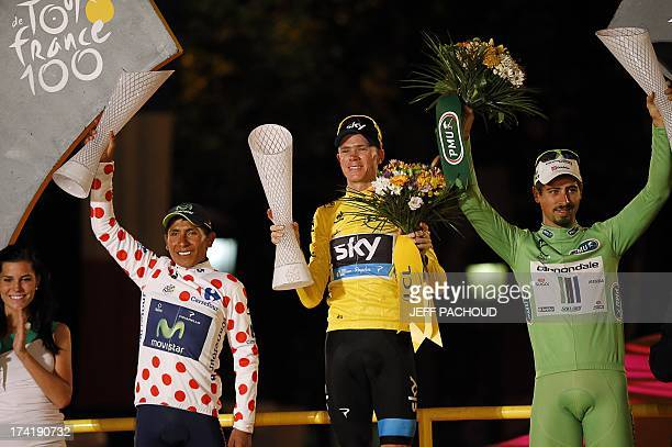 Tour de France 2013 winner Britain's Christopher Froome secondplaced and best climber's polka dot jersey Colombia's Nairo Quintana and thirdplaced...