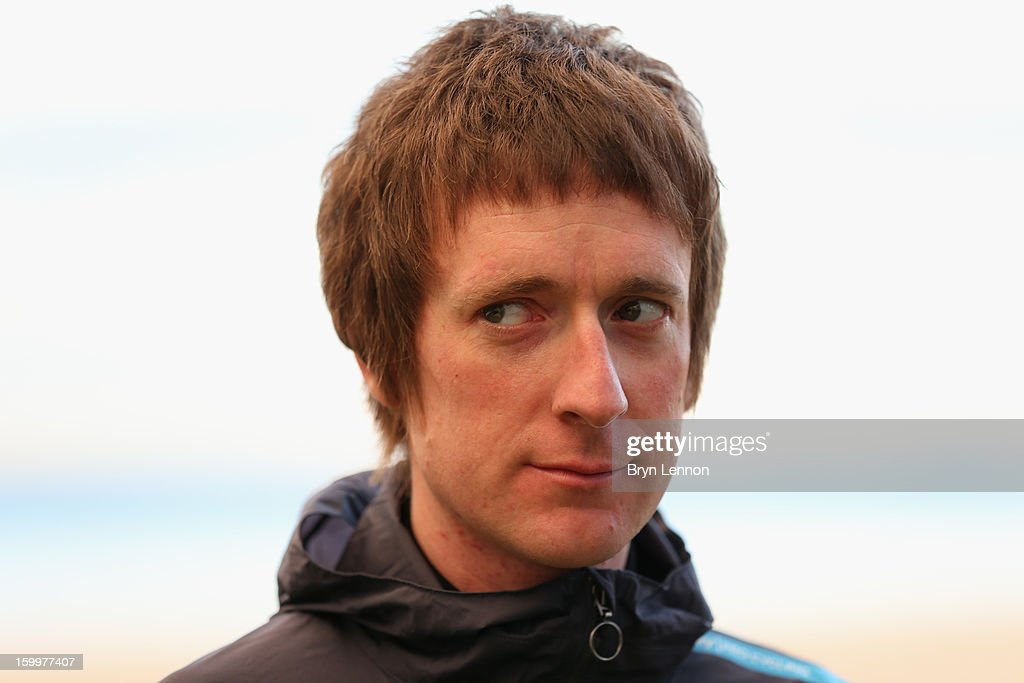 Tour de France and Olympic TT Champion Sir Bradley Wiggins of Team SKY attends a Team Sky Media Day in Puerto de Alcudia on January 24, 2013 in Mallorca, Spain.