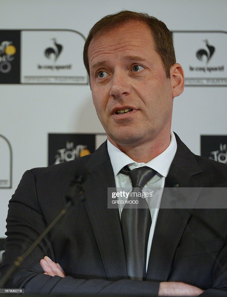 Tour de France boss Christian Prudhomme speaks at a press conference held to promote the 100th edition of the historic Tour de France cycling stage race in Sydney on May 1, 2013. Prudhomme on May 1 said the scandal-ridden sport of cycling had changed and is no longer 'the little ugly duckling' it is made out to be. The gruelling 21-stage 2013 event runs from June 29 to July 21. AFP PHOTO / GREG WOOD