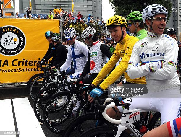 Tour de France champion British Christopher Floome of Sky Procycling World Championships road race champion Rui Costa of Portugal of Movistar and...