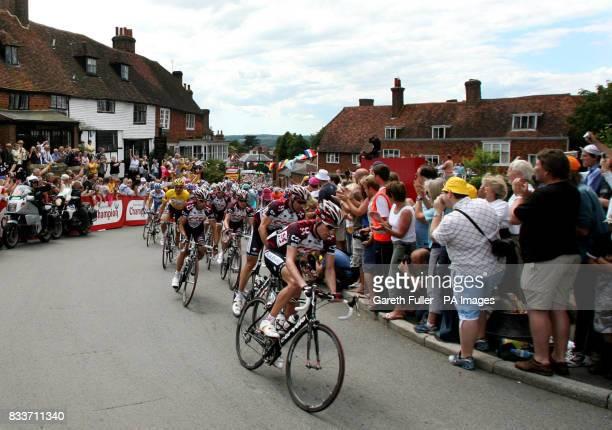Tour de France competitors race through Goudhurst in Kent during the Tour de France Stage One London to Canterbury