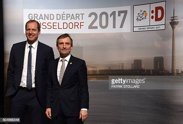 Tour de France cycling race director Christian Prudhomme and Duesseldorf'´s Lord Mayor Thomas Geisel pose for a picture after a press conference in...