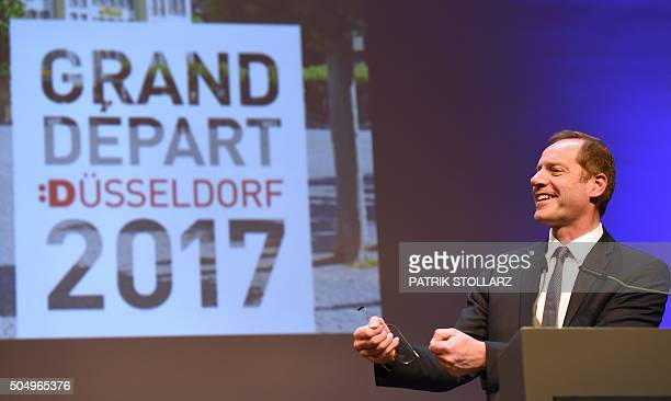 Tour de France cylcing race director Christian Prudhomme speaks during a press conference in Duesseldorf on January 14 2015 to present the 2017...