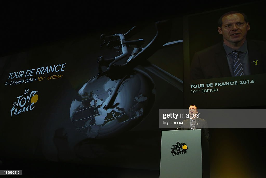 Tour de France Director <a gi-track='captionPersonalityLinkClicked' href=/galleries/search?phrase=Christian+Prudhomme&family=editorial&specificpeople=546988 ng-click='$event.stopPropagation()'>Christian Prudhomme</a> addreses the audience at the route presentation of 2014 Tour de France at the Palais des Congres de Paris on October 23, 2013 in Paris, France. The 101st edition of the Tour de France will start with 3 stages in England.