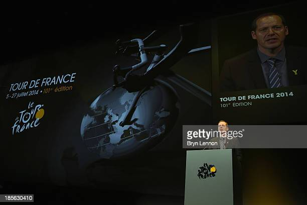 Tour de France Director Christian Prudhomme addreses the audience at the route presentation of 2014 Tour de France at the Palais des Congres de Paris...