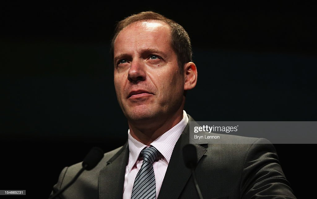 Tour de France Director <a gi-track='captionPersonalityLinkClicked' href=/galleries/search?phrase=Christian+Prudhomme&family=editorial&specificpeople=546988 ng-click='$event.stopPropagation()'>Christian Prudhomme</a> addresses the audience at the 2013 Tour de France Route Presentation at the Palais des Congres de Paris on October 24, 2012 in Paris, France.