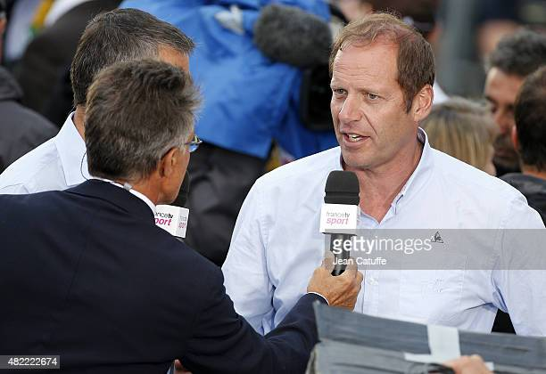 Tour de France Director Christian Prudhomme answers to Gerard Holtz following stage twenty one of the 2015 Tour de France a 1095 km stage from Sevres...