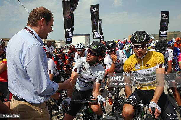 Tour de France Director Christian Prudhomme chats to Mark Cavendish of Great Britain and Dimension Data at the start of stage four of the 2016 Tour...