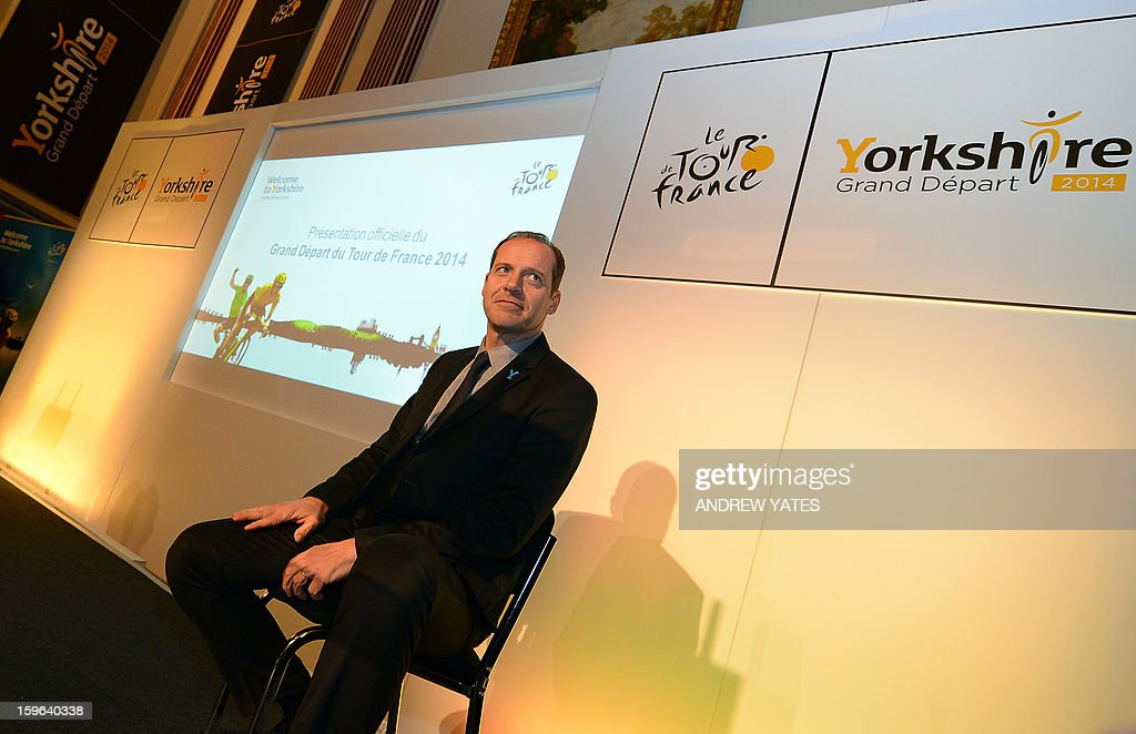 Tour de France director Christian Prudhomme holds a press conference to announce the routes for the 2014 Tour De France at Leeds Town Hall in Leeds, northern England, on January 17, 2013. The 2014 Tour de France will start with a stage between Leeds and Harrogate in the northern English county of Yorkshire on July 5, organisers of cycling's most prestigious and gruelling race announced.
