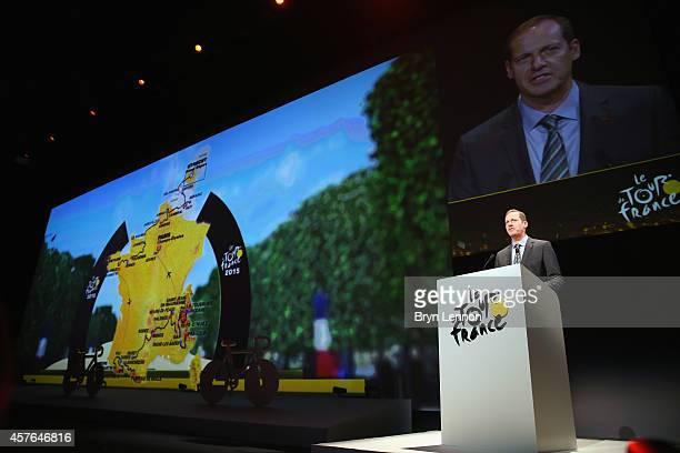 Tour de France Director Christian Prudhomme reveals the 2015 Tour de France Route on October 22 2014 in Paris France
