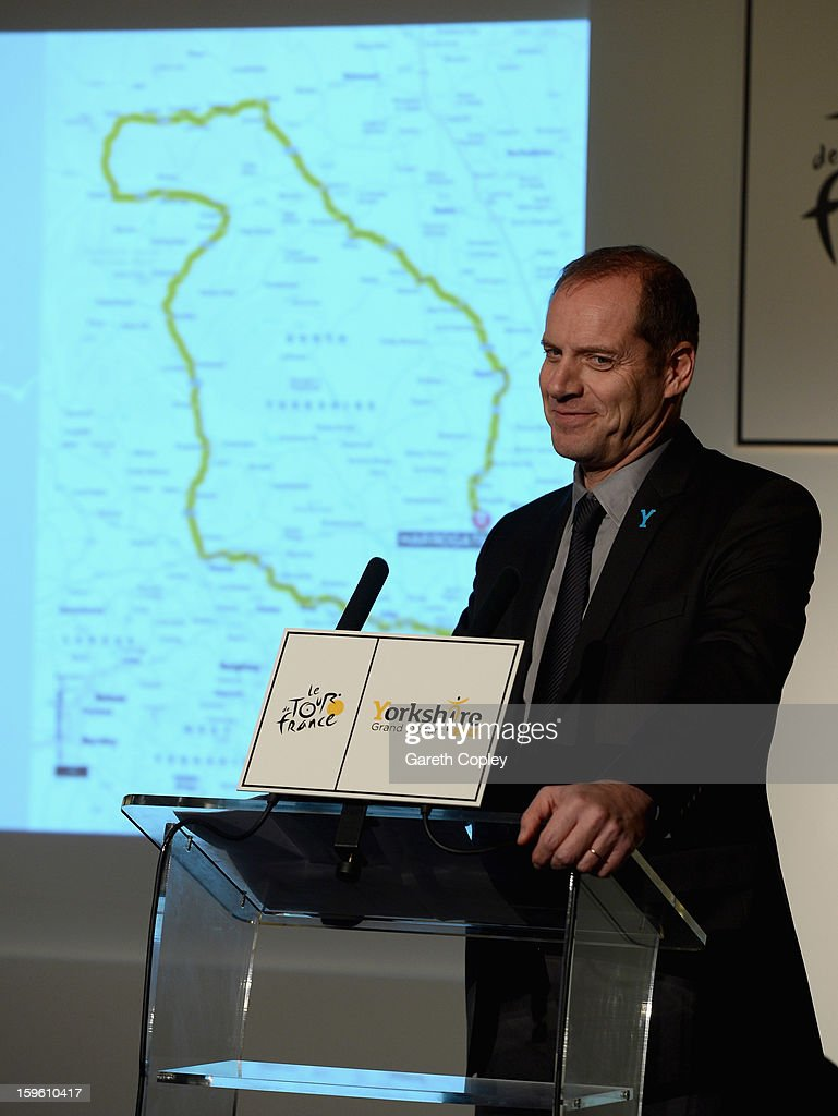 Tour de France Director <a gi-track='captionPersonalityLinkClicked' href=/galleries/search?phrase=Christian+Prudhomme&family=editorial&specificpeople=546988 ng-click='$event.stopPropagation()'>Christian Prudhomme</a> speaks during a press conference to announce the Grand Depart of the Tour de France at Leeds Town Hall on January 17, 2013 in Leeds, England.