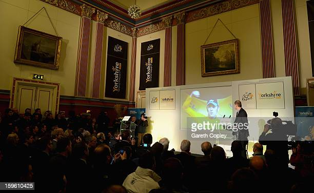 Tour de France Director Christian Prudhomme speaks during a press conference to announce the Grand Depart of the Tour de France at Leeds Town Hall on...