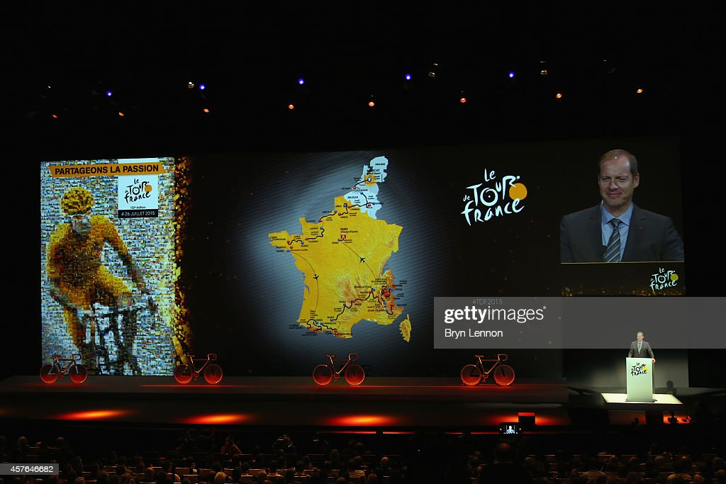 Tour de France Directreur <a gi-track='captionPersonalityLinkClicked' href=/galleries/search?phrase=Christian+Prudhomme&family=editorial&specificpeople=546988 ng-click='$event.stopPropagation()'>Christian Prudhomme</a> presents the 2015 Tour de France route on October 22, 2014 in Paris, France.