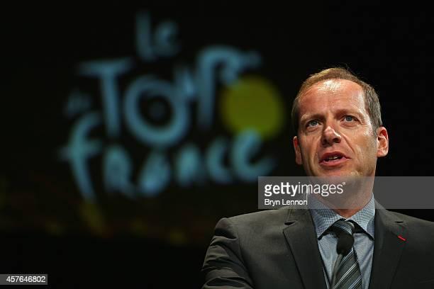 Tour de France Directreur Christian Prudhomme presents the 2015 Tour de France route on October 22 2014 in Paris France