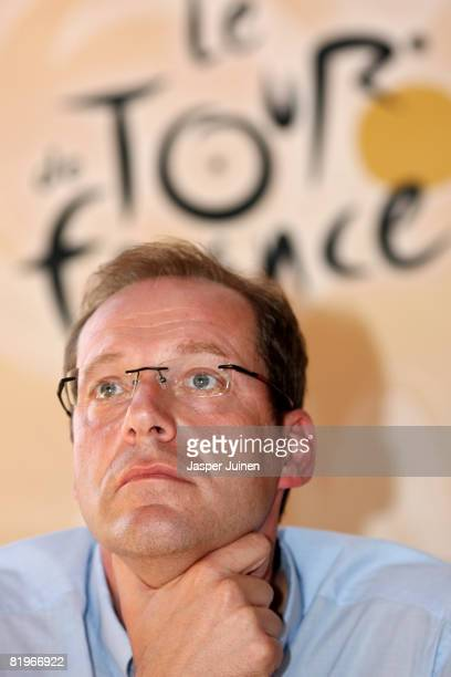 Tour de France race director Christian Prudhomme looks on during a press conference after stage twelve of the 2008 Tour de France on July 17 2008 in...