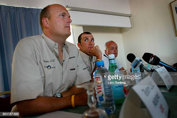 Tour de France second restday Team CSC pressconference Bjarne Riis Ivan Basso pressechef Brian Nygaard