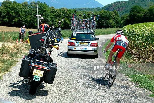 Tour de France stage 7 Moto with iMax camera controled from a helicopter filming the stage left Nicki Soerensen Team CSC