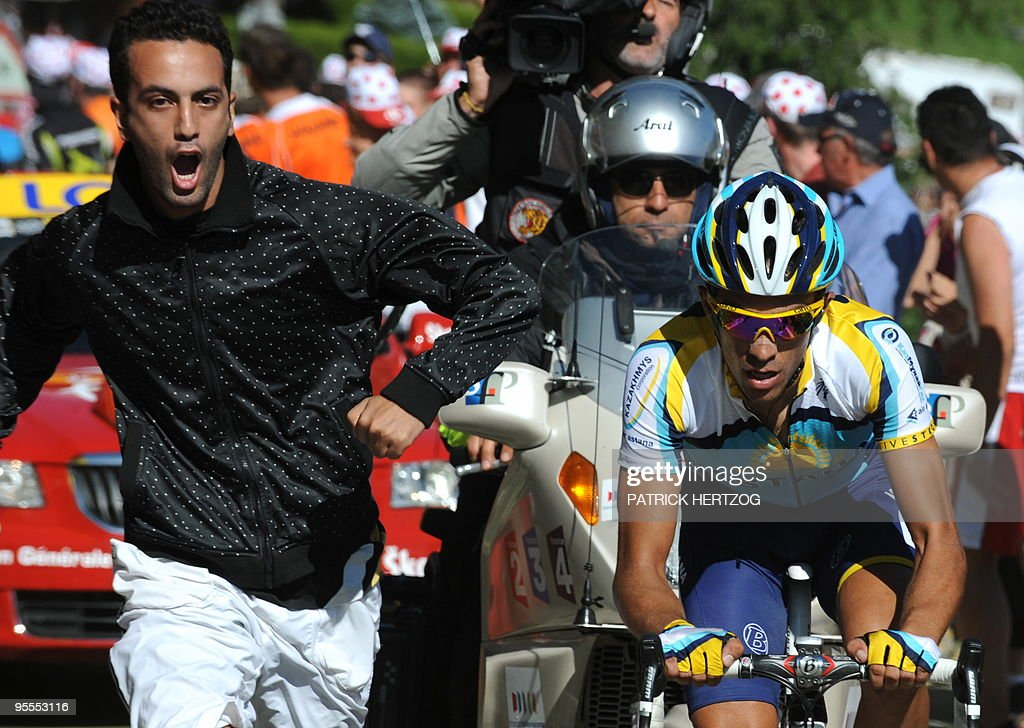 Tour de France winner and Kazakh cycling team Astana (AST)'s leader Alberto Contador of Spain rides in the last kilometers before getting the yellow jersey of overall leader on July 19, 2009 in the 207,5 km and fifteenth stage of the 2009 Tour de France cycling race run between Pontarlier and Verbier (Switzerland). 2007 Tour de France winner and Kazakh cycling team Astana (AST)'s leader Alberto Contador of Spain won ahead of Danish cycling team Team Saxo Bank (SAX)'s leader Andy Schleck of Luxemburg and Italian cycling team Liquigas (LIQ)'s Vincenzo Nibali of Italy.