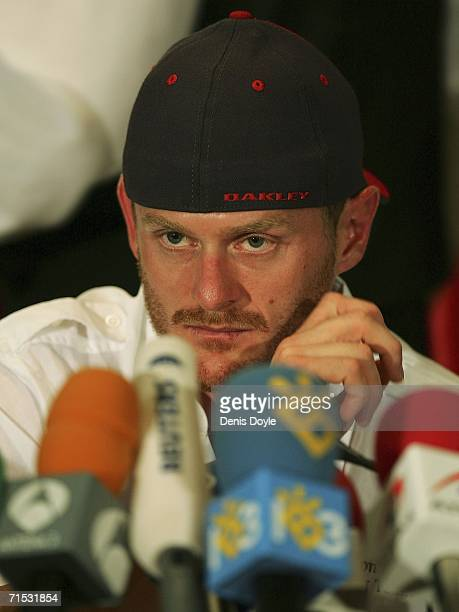 Tour de France winner Floyd Landis holds a press conference in a Madrid hotel after he tested positive for excessive levels of testosterone on July...