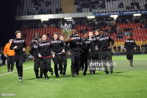 Tour d'honneur des moins de 19 ans vainqueurs de la coupe Gambardella Metz / Angers 36eme journee de Ligue 2 Stade Saint Symphorien