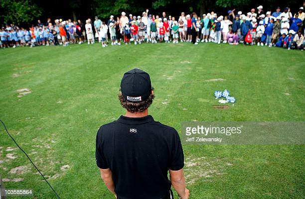 Tour golfer Adam Scott conducts a golf clinic for young people at Ridgewood Country Club on August 24 2010 in Paramus New Jersey