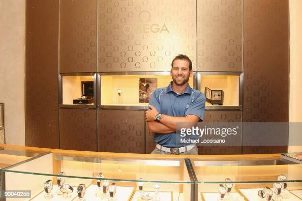 Tour Golfer Sergio Garcia visits the OMEGA New York Flagship Boutique at Omega Boutique on August 24 2009 in New York City