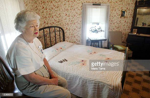 A tour guide who would only identify herself as Juanita sits in the restored room where Elvis Presley was born January 8 1935 during Elvis Week...