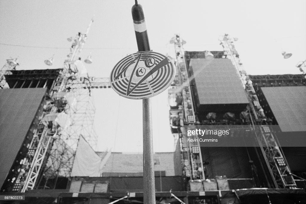 A tour logo at Feijenoord Stadion Rotterdam at a concert by Irish rock group U2 during the band's Zoo TV tour 11th May 1993