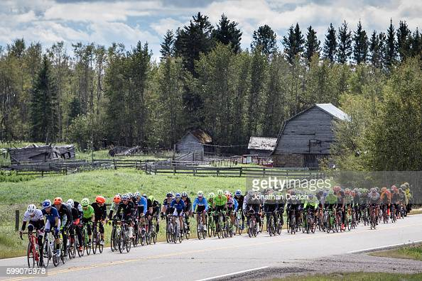 Tour of Alberta Stage 3 Riders pass by an old ranch along the course on stage 3 in Rocky Mountain House on September 3 2016 in Rocky Mountain House...