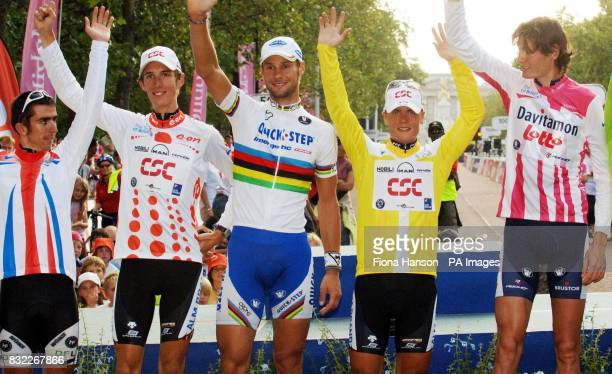 Tour of Britain winning cyclists on the podium best British rider Russell Downing King of the Mountains winner Andy Schleck of Luxembourg stage six...