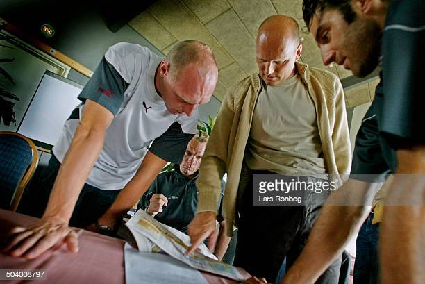 Tour of Denmark CSCTiscali pressconference Paul van Hyfte directeur sportif Bjarne Riis and Andrea Peron CSCTiscali checkin the weather forecast for...
