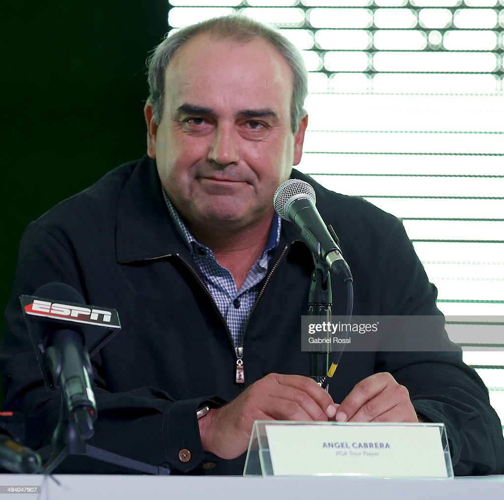 Tour player Angel Cabrera attends a press conference to present the first edition of America's Golf Cup at Madero Walk Hall on May 27 2014 in Buenos...
