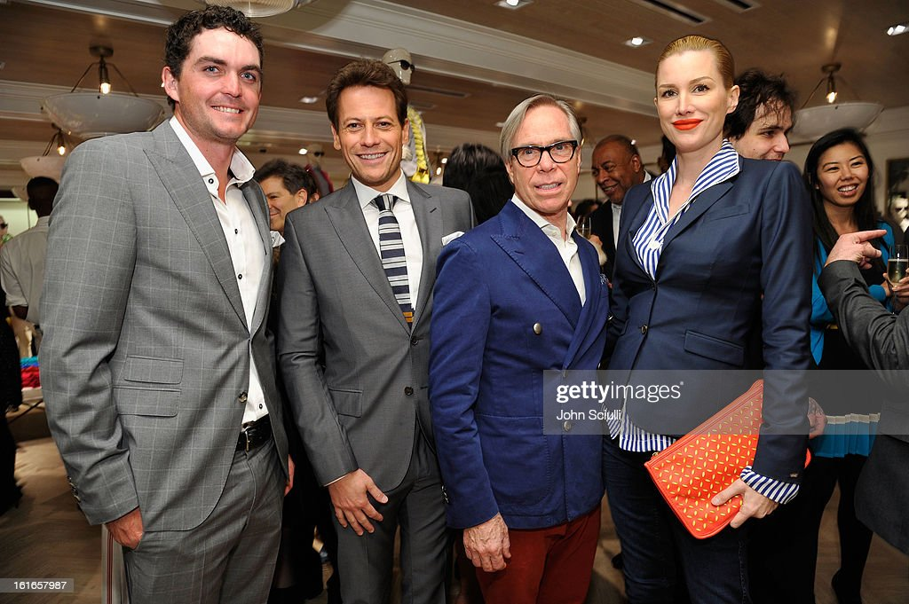 PGA Tour Player Keegan Bradley, actor Ioan Gruffudd, fashion designer Tommy Hilfiger and actress Alice Evans attend Tommy Hilfiger New West Coast Flagship Opening on Robertson Boulevard on February 13, 2013 in West Hollywood, California.