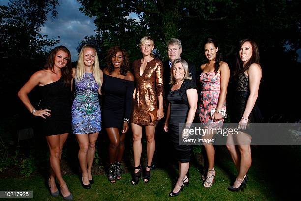 WTA tour tennis players Agnieszka Radwanska Caroline Wozniaki Serena Williams Maria Sharapova Ana Ivanovic Jelena Jankovic pose together with Sony...