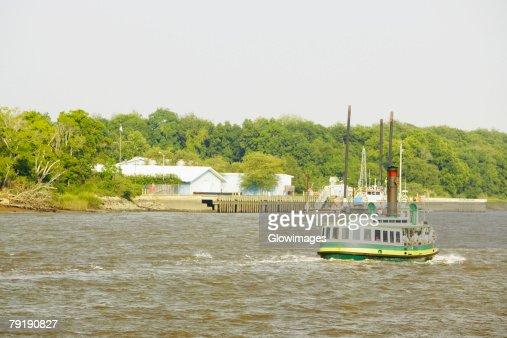 Tourboat in the river, Savannah, Georgia, USA : Stock Photo