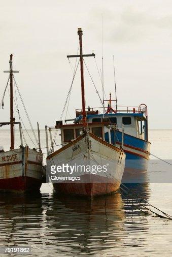Tourboats anchored at the port, Taganga Port, Taganga Bay, Magdalena, Colombia : Foto de stock