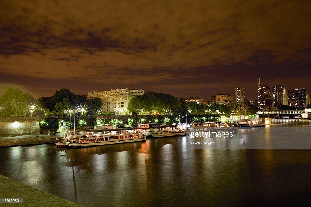 Tourboats docked at a port, Seine River, Paris, France : Stock Photo