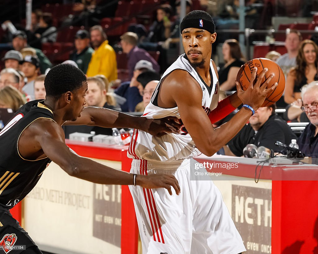 Toure Murry of the Idaho Stampede handles the ball during an NBA DLeague game against the Erie Bayhawks on November 14 2014 at CenturyLink Arena in...