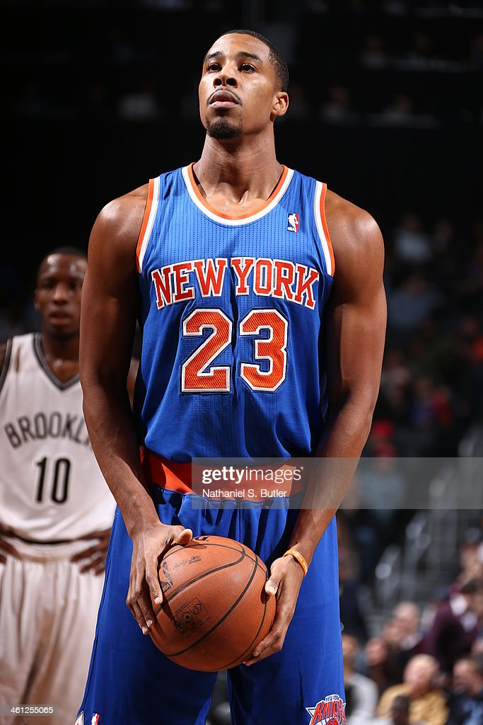 Toure Murry #23 of the New York Knicks taking a freethrow during a game against the Brooklyn Nets during a game at Barclays Center on December 5, 2013 in the Brooklyn borough of New York City.