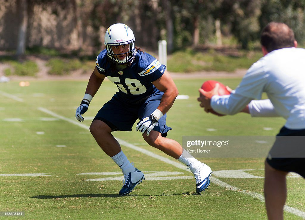 SAN DIEGO, CA - MAY 10 - Tourek Williams #58 of the San Diego Chargers runs through drills during Rookie Camp at the team's practice facility on May 10, 2013 in San Diego, California.